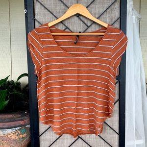 O'Neill Orange White Stripe Flowy T Shirt Medium